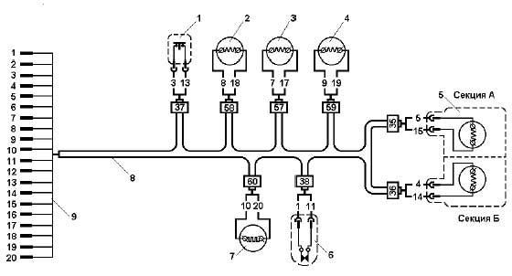 Полумонтажная схема кабельного